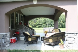 Covered Patio Addition with  Stenciled concrete patio